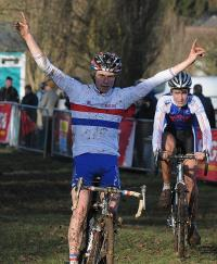 Tom Moses (in National Champion's jersey) winning Derby Junior National Cyclo-Cross Trophy 18 Jan 2009